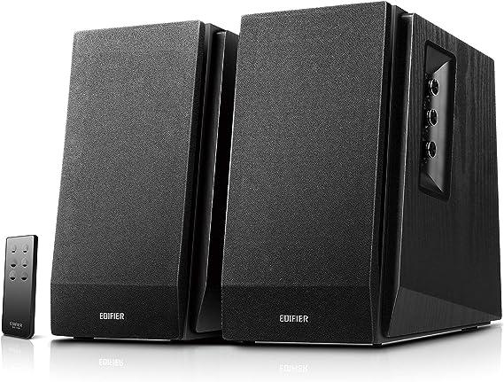 Edifier R1700BT Altavoces de Estante Bluetooth - Monitores de Estudio de Campo Cercano Activos - Altavoces 2.0 - Instalación de gabinete de madera - 66w RMS - Negro