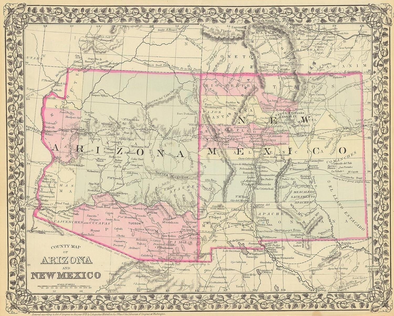 Amazon.com: Vintage Map - 1879 County Map of Arizona and New ...