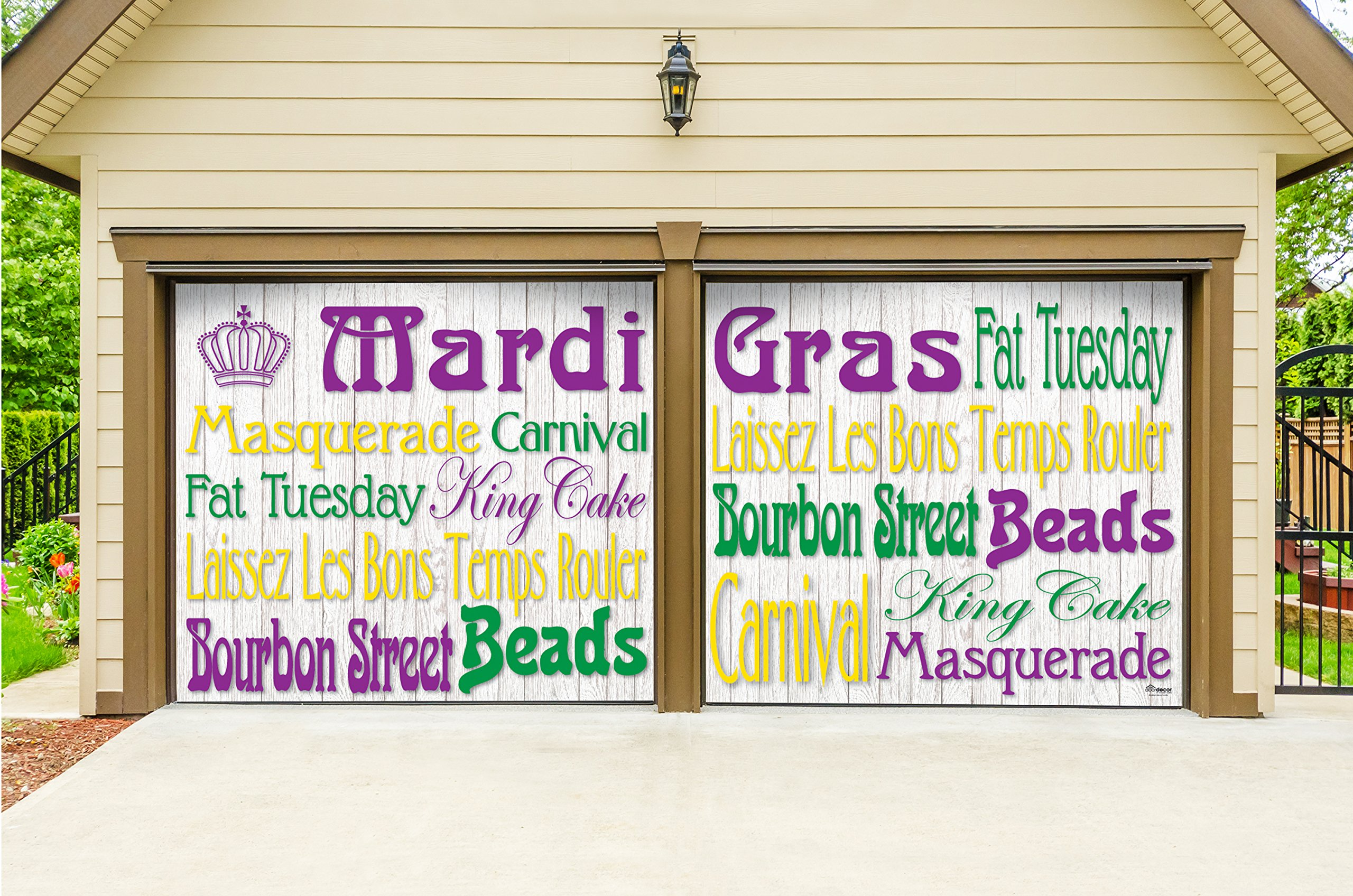 Outdoor Mardi Gras Decorations 2 Car Split Garage Door Banner Cover Mural - Mardi Gras Words, Two 7'x 8' Graphic Kits - ''The Original Mardi Gras Supplies Garage Door Banner Decor''