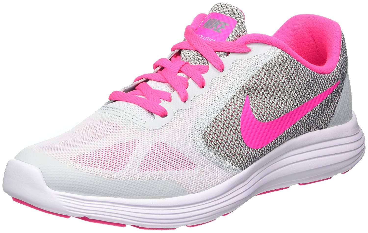 NIKE ' Revolution 3 (GS) Running Shoes B01IRVGNS6 5.5 M US Big Kid|Pure Platinum/Pink Blast/Wolf Grey/White