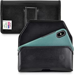 product image for Turtleback Holster Designed for iPhone 11 Pro Max (2019) / XS Max (2018) with OTTERBOX Symmetry, Black Leather Belt Case Pouch with Executive Belt Clip, Horizontal Made in USA