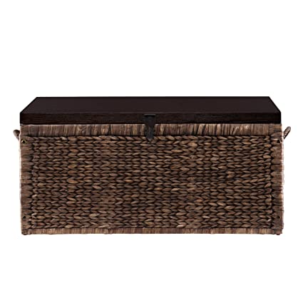 Genial Southern Enterprises Water Hyacinth Storage Trunk, Blackwashed With  Espresso Finish