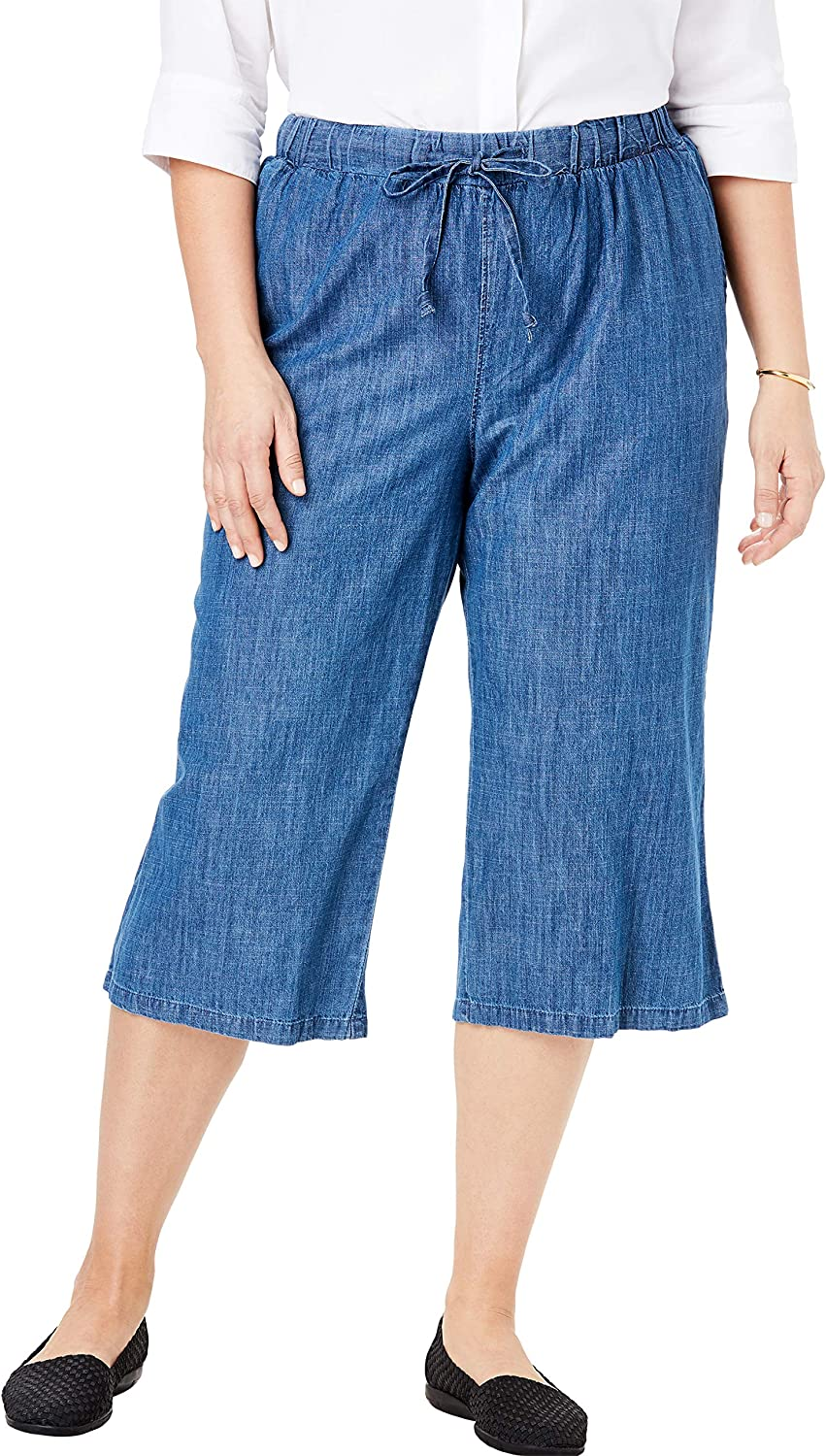Woman Within Womens Plus Size Drawstring Chambray Relaxed Capri