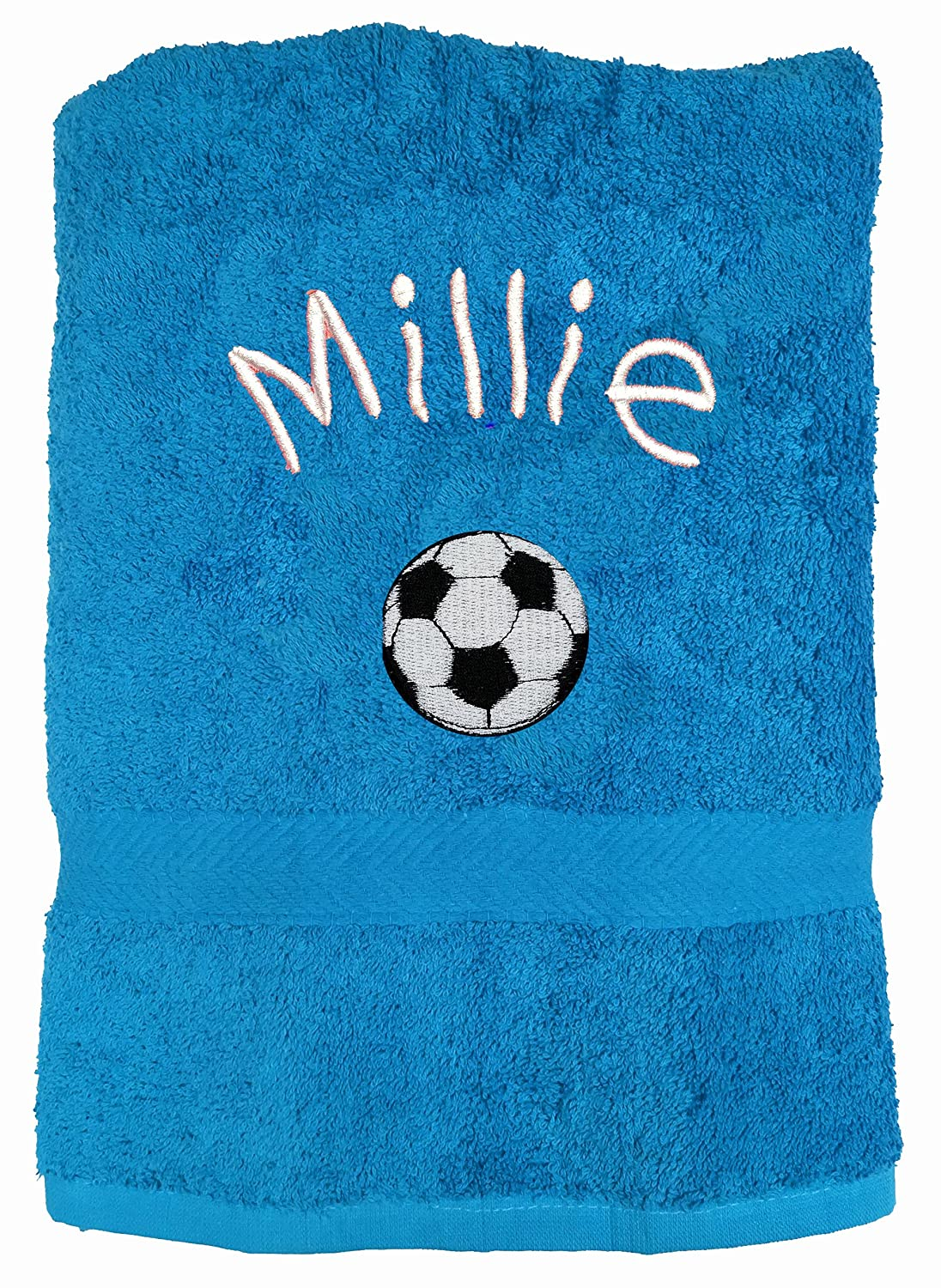 Any Name Beautifully Embroidered On A Luxury 550gsm Towel Perfect For Holiday Spoilt Rotten Kids Football Lime Personalised Bath Towel Swimming or Bathing.