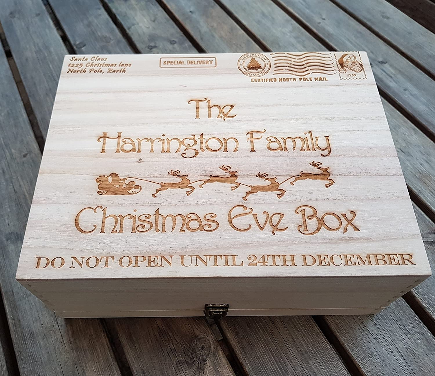 personalised engraved wooden christmas eve treat box xlarge family box special delivery design with stamp amazoncouk handmade - Does Mail Get Delivered On Christmas Eve