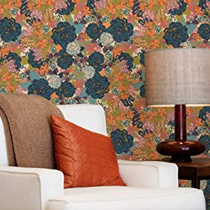 Removable & Reusable Wallpaper - English Garden Flowers Wall Mural Design - Large Painted Floral Wall Pattern - Colorful Wallpapers for Decorating Walls - Flower Wall Stickers