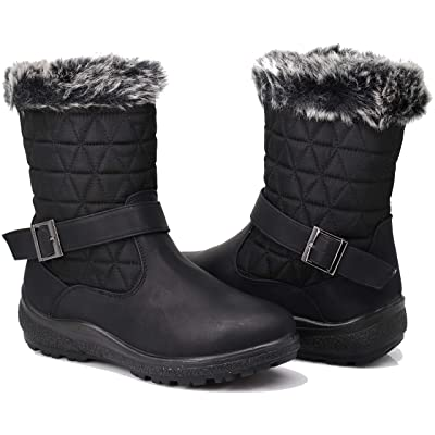 Enzo Romeo Wolfburg Women's Winter Cold Weather Snow Boots Shoes Lace Up Zipper Mid Calf Boots Fleece Lining   Snow Boots