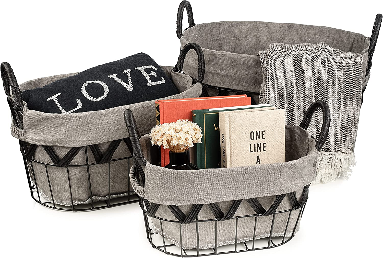 Sorbus Wire Storage Baskets Set Decorative with Removable Fabric Liner, Open Home Décor Farmhouse Metal Storage Bins & Baskets for Organizing Shelves, Living Room, Bathroom, Kitchen, (Oval - White)