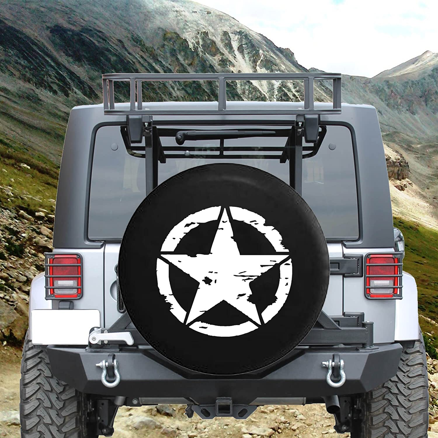 Oscar Mike Military Tattered Tactical Star Spare Jeep Wrangler Camper SUV Tire Cover Gray Ink 33 in