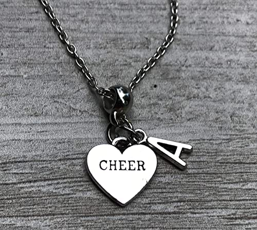 Perfect Gift for Cheerleaders Cheer She Believed She Could So She Did Jewelry Personalized Cheer Charm Necklace With Initial charm