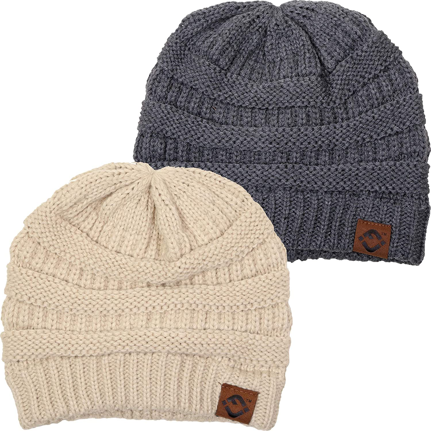 71c6a2a7204 F1-2-6070 FJ Beanie Bundle - Beige   Charcoal (2 Pack) at Amazon Women s  Clothing store