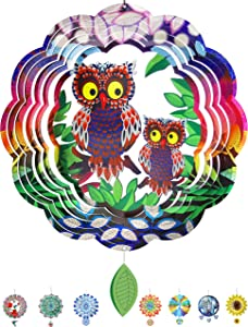 Denater Owl Wind Spinner Outdoor 12in Metal Yard Art for Home,Garden Decor, Funny Owl Guard Wind Sculptures & Spinners,Suncatcher Windmill Ornaments with a Leaf Pendent(3D Stainless Steel,)