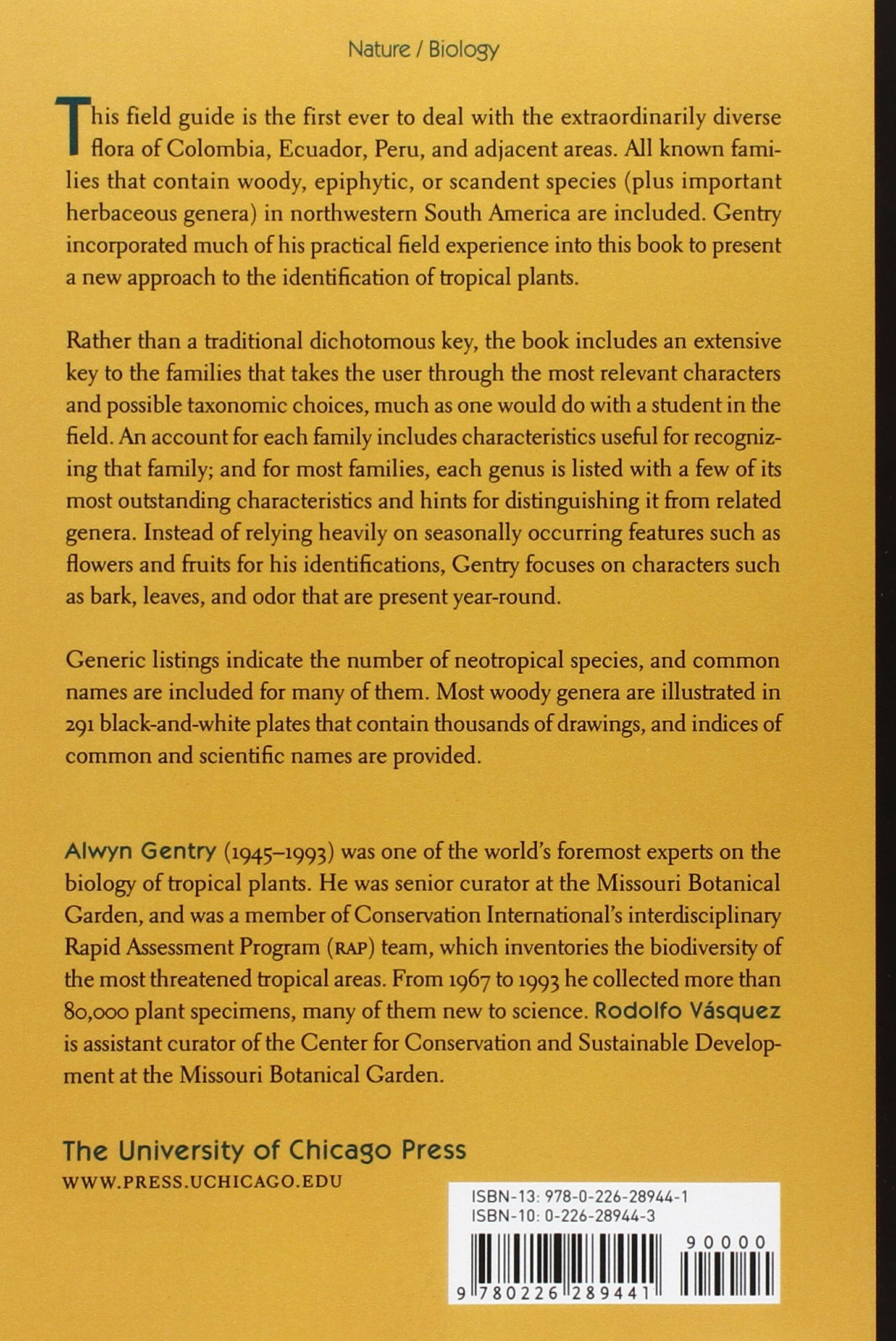 A Field Guide to the Families and Genera of Woody Plants of Northwest South America Columbia, Ecuador, Peru: Amazon.es: Alwyn H. Gentry, Rodolfo Vasquez: ...