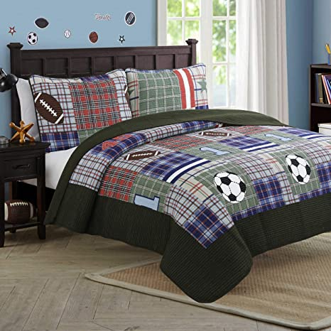 Cozy Line Home Fashions Liam Bedding Quilt Set Olive Green Blue Red Football Pattern Printed 100 Cotton Reversible Coverlet Bedspread For Kids Boy Olive Football Queen 3 Piece Kitchen Dining