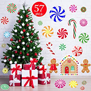 Funnlot 57 PCS Peppermint Floor Decals Christmas Candy Stickers Candy Floor Decals for Christmas Floor Decals Candy Party Wall Decals Stickers Xmas for Candyland Decoration
