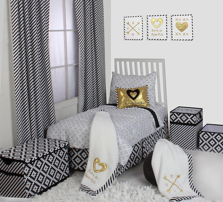Bacati Love/Hearts Unisex Muslin 4 Piece Toddler Bedding Set, Grey Inc. LHGRM4TB