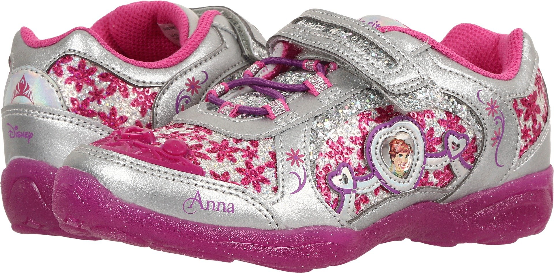 Stride Rite Disney Frozen Alternative Closure Light-up Sneaker (Toddler/Little Kid), Berry, 2.5 M US Little Kid