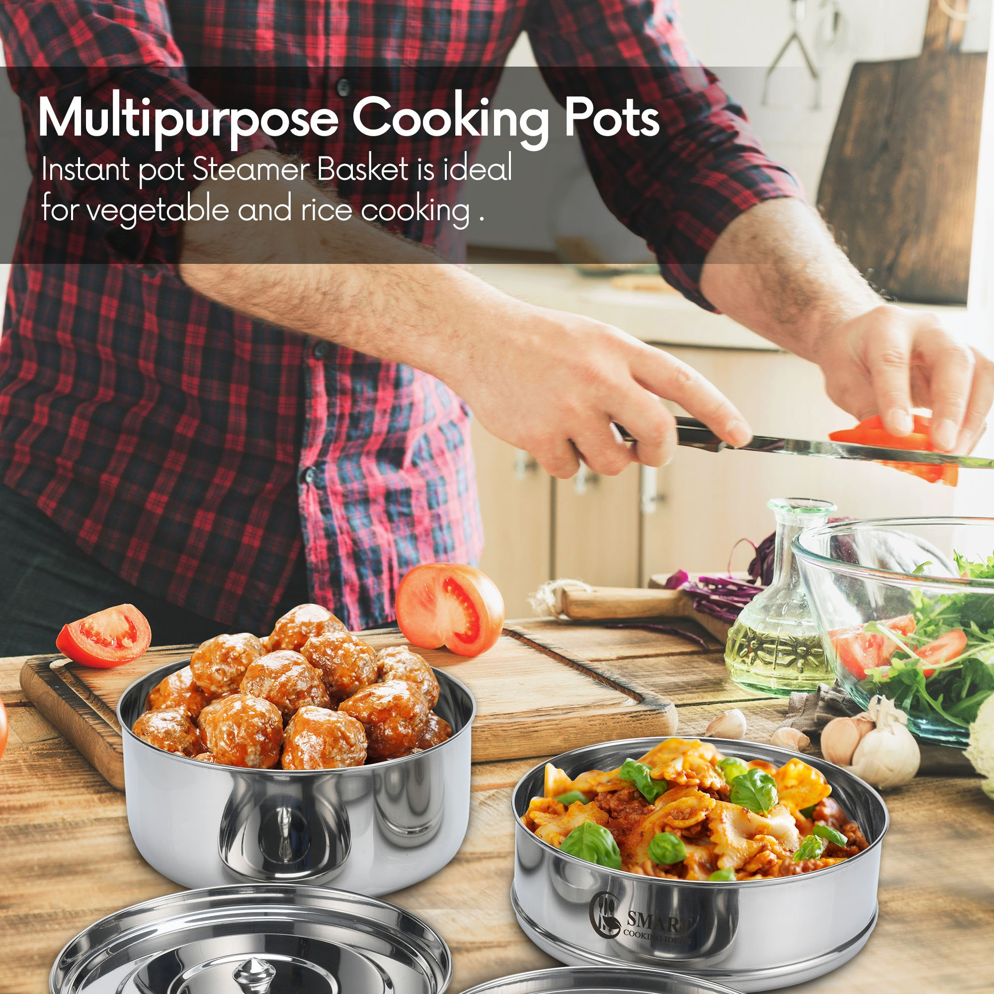 Stackable Stainless Steel Pressure Cooker Steamer Insert Pans with sling - For Instant Pot Accessories 6,8 qt-Baking, Casseroles, Lasagna Pans, Food Cooker, Upgraded Interchangeable Lid-Instapot Pans by SMART COOKING IDEAS (Image #7)
