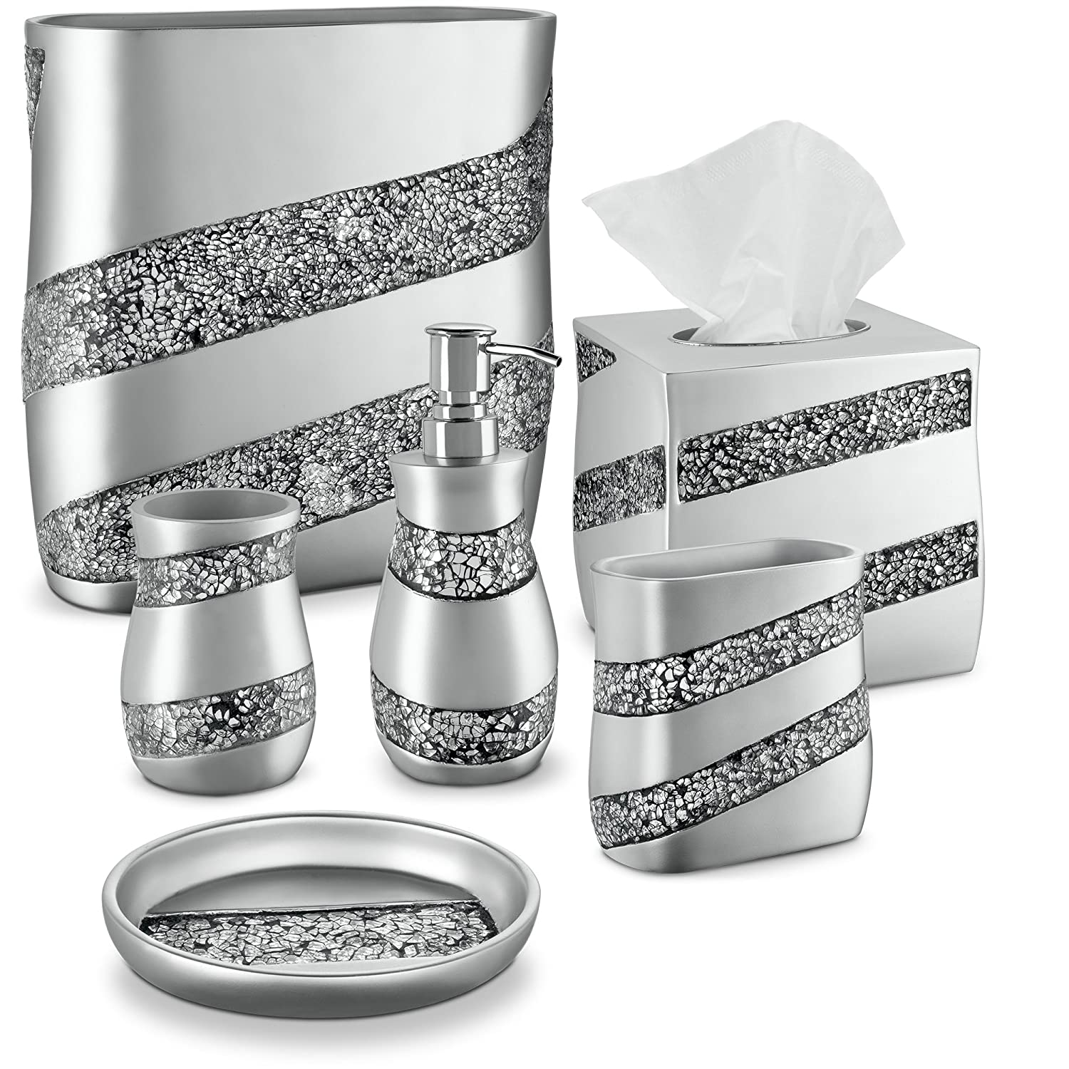 Silver mosaic fancy elegant bathroom accessories set 6 for Silver mosaic bathroom accessories