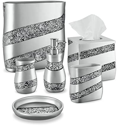 DWELLZA Silver Mosaic Bathroom Accessories Set, 6 Piece Bath Set Collection  Features Soap Dispenser,