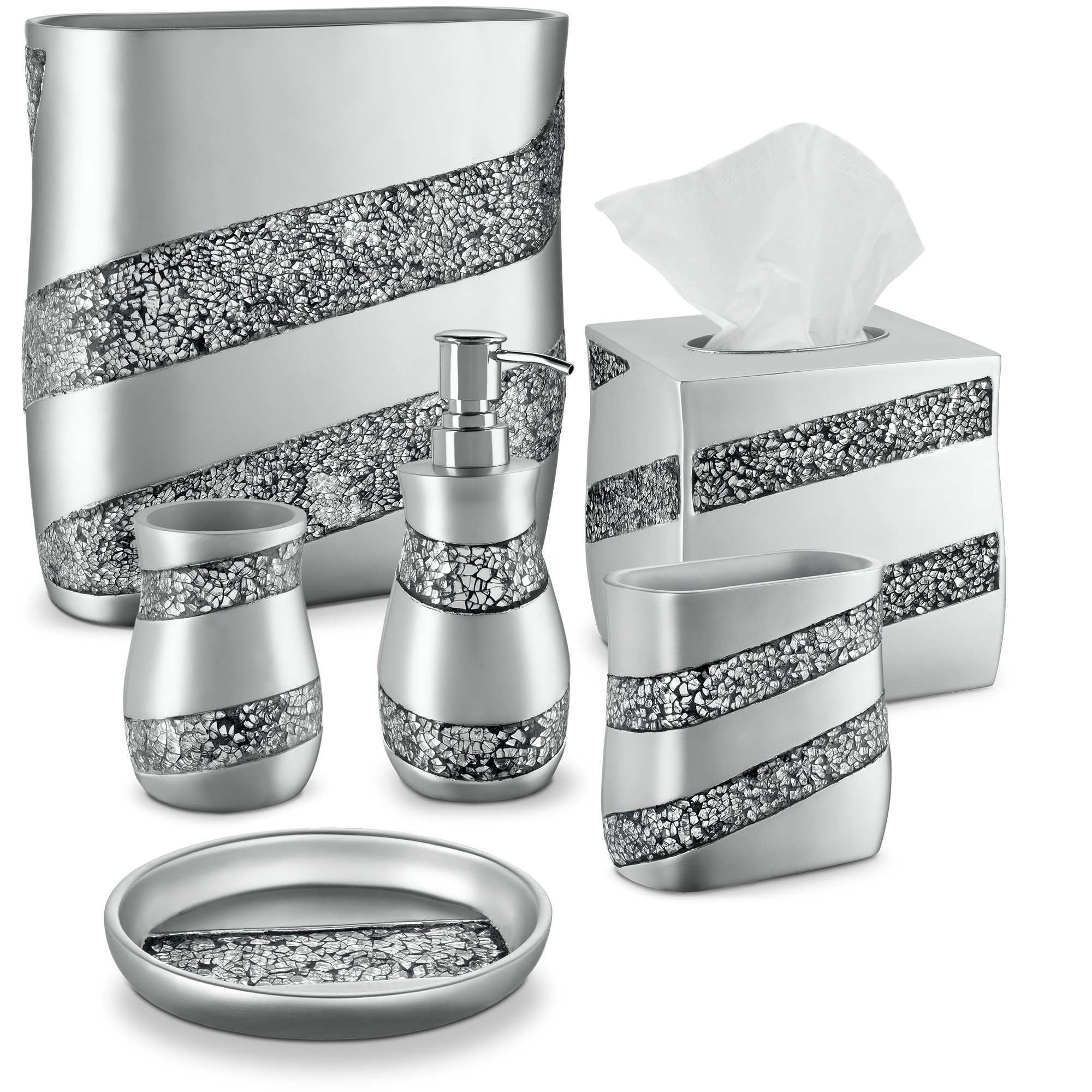 dwellza silver mosaic bathroom accessories set  6 piece
