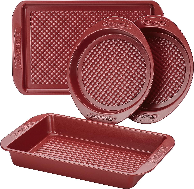 Farberware Nonstick Bakeware Set with Nonstick Cookie Sheet / Baking Sheet, Baking Pan and Cake Pans - 4 Piece, Red: Kitchen & Dining