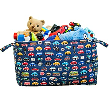 Blue Toy Storage Basket For Boys With Car Prints Such As Police Cars,  Firetrucks And