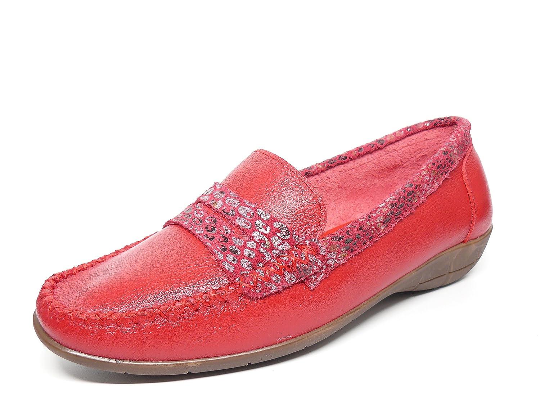 Zapato mujer casual mocasin marca DORKING en piel color rojo adorno banda antifaz serpiente rojo 119 - 20: Amazon.es: Zapatos y complementos