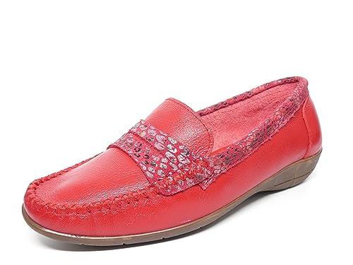Zapato Mujer Casual Mocasin Marca DELTELL en Piel Color Rojo Adorno Banda Antifaz Serpiente Rojo 119