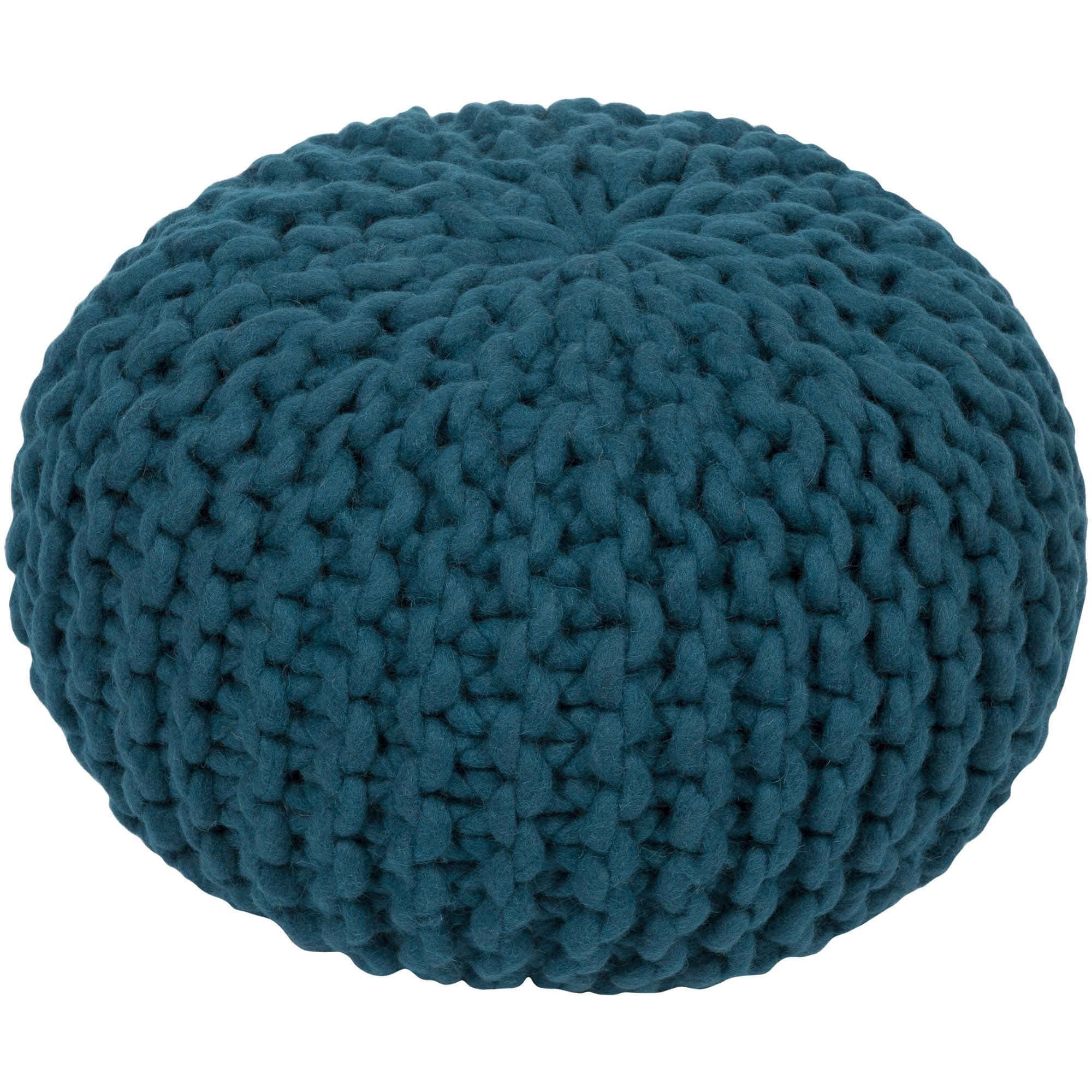 Surya FGPF-005 100-Percent Wool Pouf, 20-Inch by 20-Inch by 14-Inch, Teal