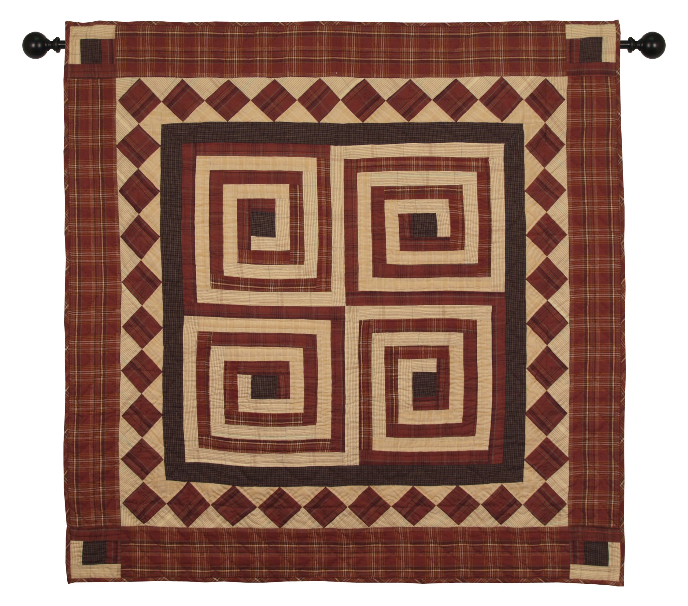 Log Cabin Burgundy Wall Hanging Quilt 44 Inches by 44 Inches 100% Cotton Handmade Hand Quilted Heirloom Quality by Choices Quilts