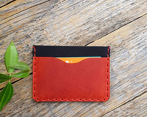 034f24b1636f7 Amazon.com  Personalised red and black leather wallet. Credit card ...