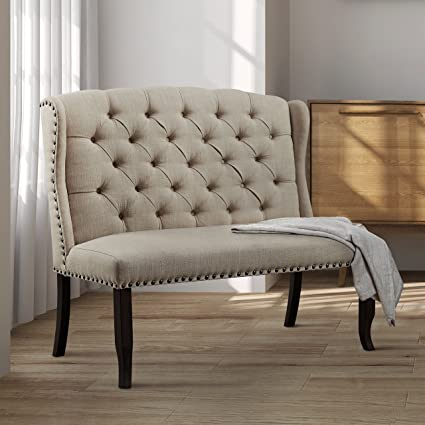 Furniture Of America Telara Foam Contemporary Tufted Wingback Loveseat  Dining Bench Ivory Antique
