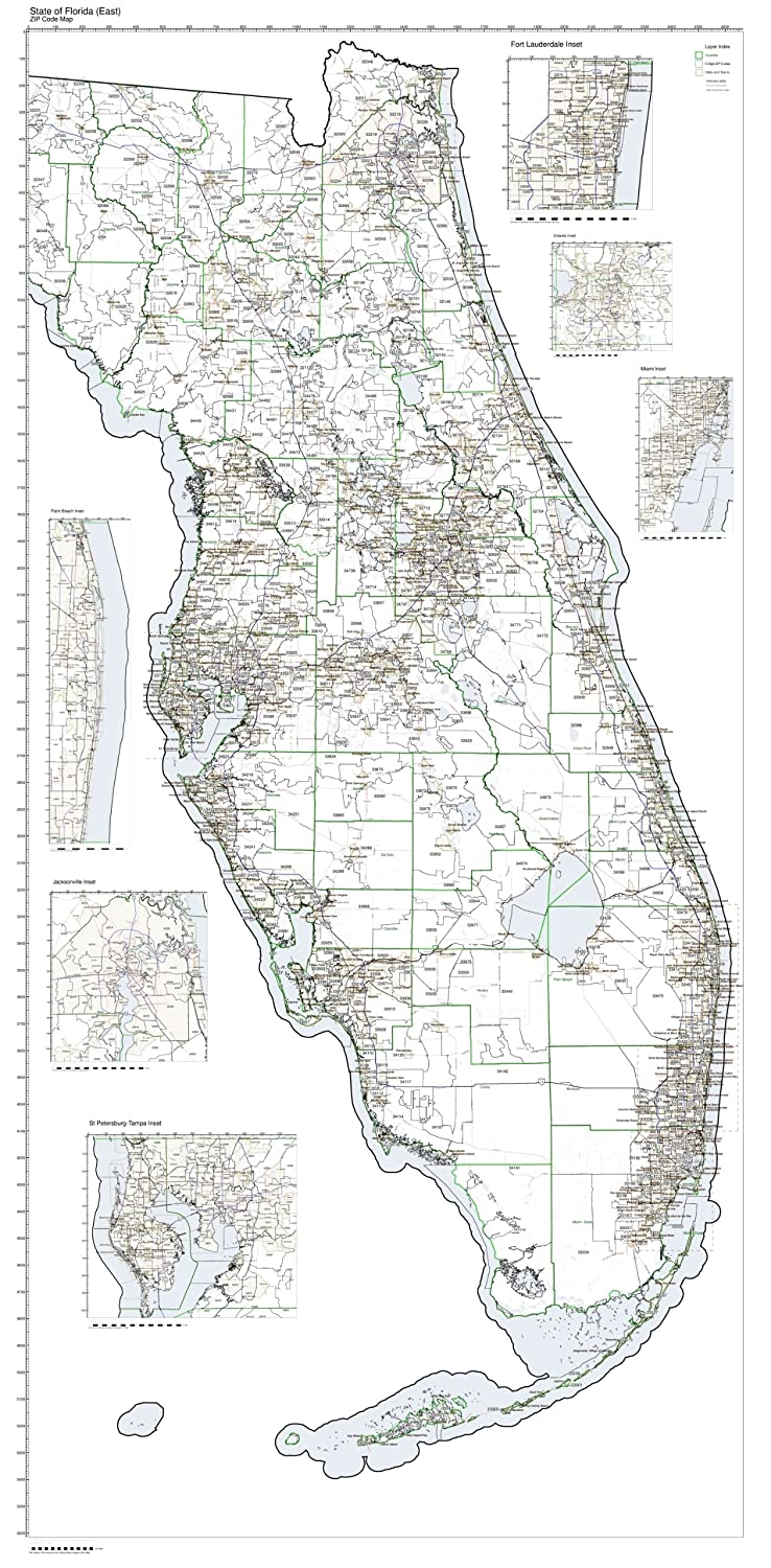 Current Map Of Florida.Amazon Com Zip Code Map State Of Florida Eastern Part Not Laminated