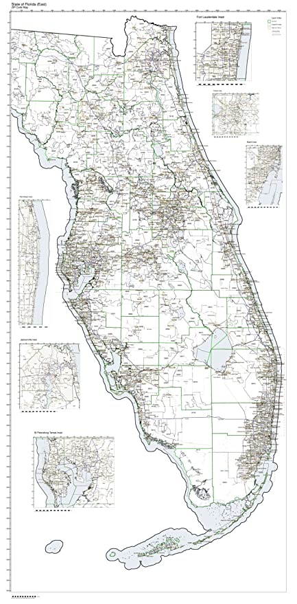 Florida Current Map.Amazon Com Zip Code Map State Of Florida Eastern Part Not Laminated