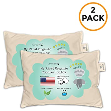 13X18 ORGANIC Cotton MADE IN USA  Washable Unisex kids pillow Toddler Pillow