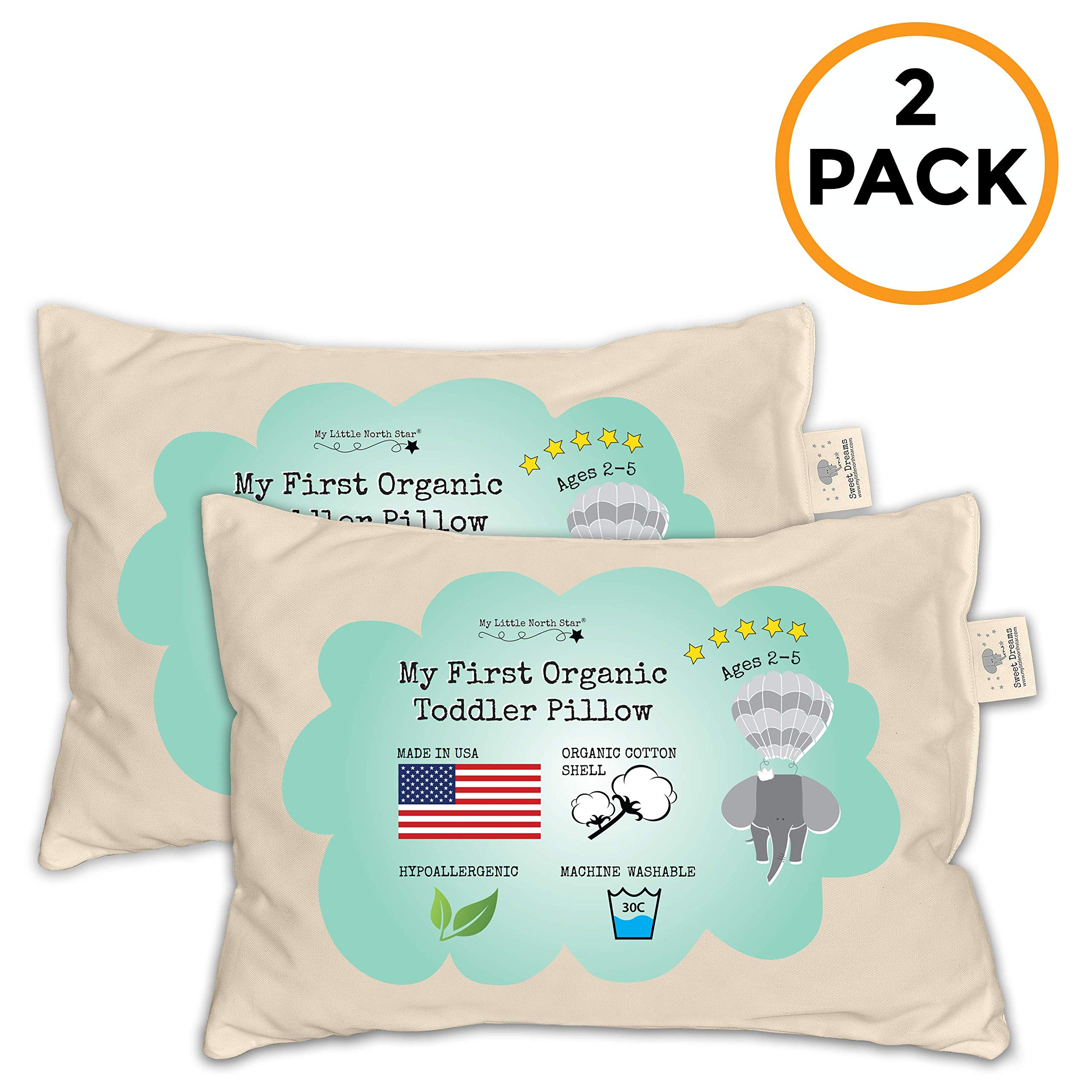 Toddler Pillow - Organic Cotton Made in USA - Hypoallergenic Washable Unisex Kids Pillow - 13X18-2 Pack