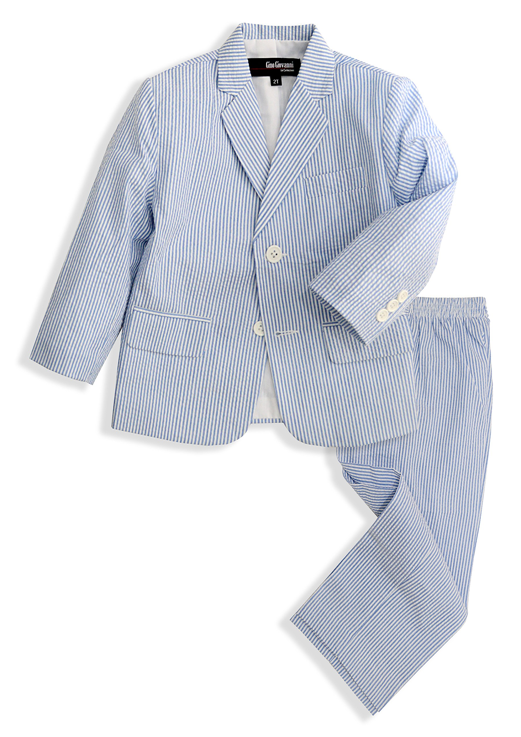 G288 Boys Seersucker 2 Button Suit Set (12, Blue)