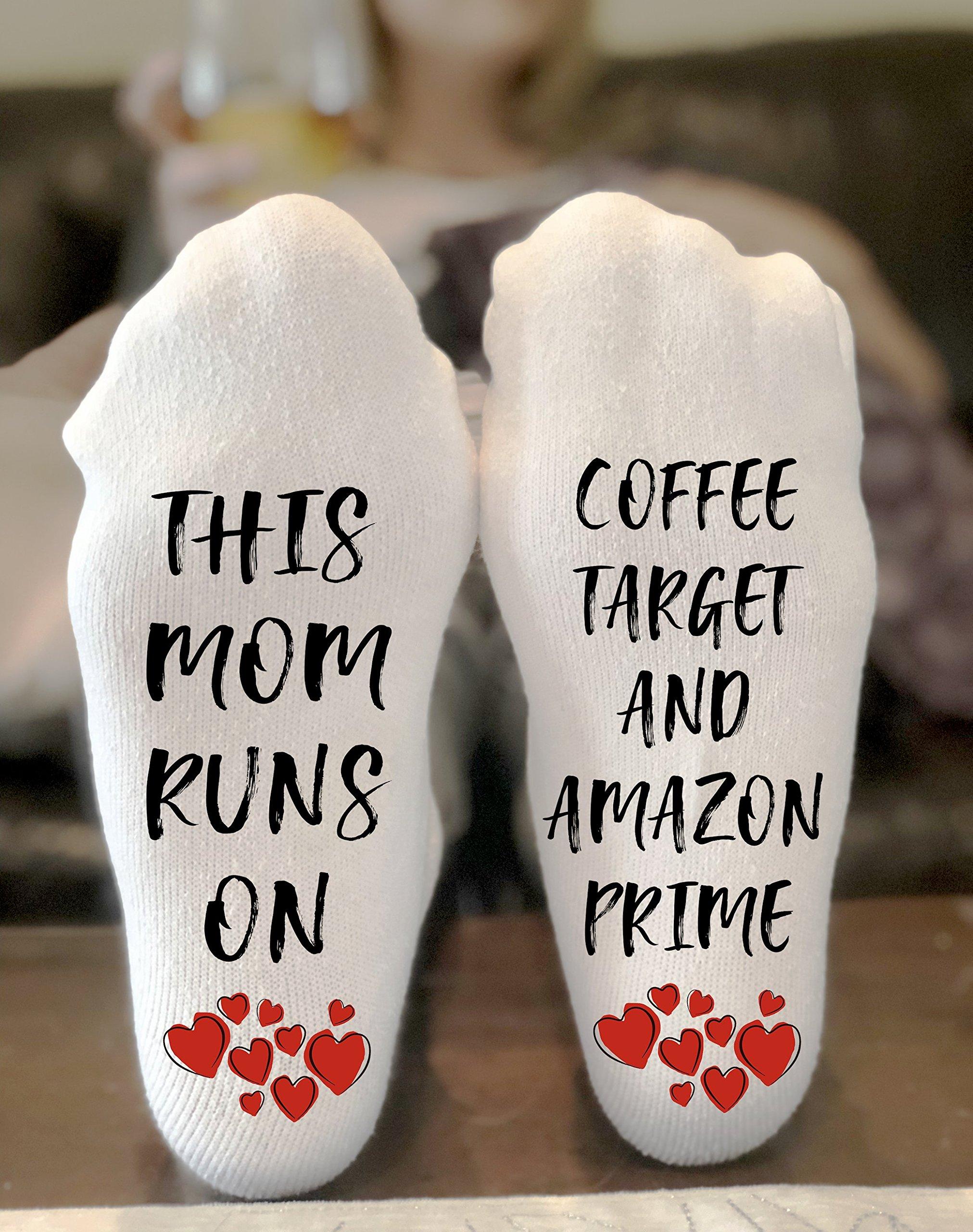 This Mom Runs On Coffee, Target and Amazon Prime Novelty Funky Crew Socks Men Women Christmas Gifts Cotton Slipper Socks