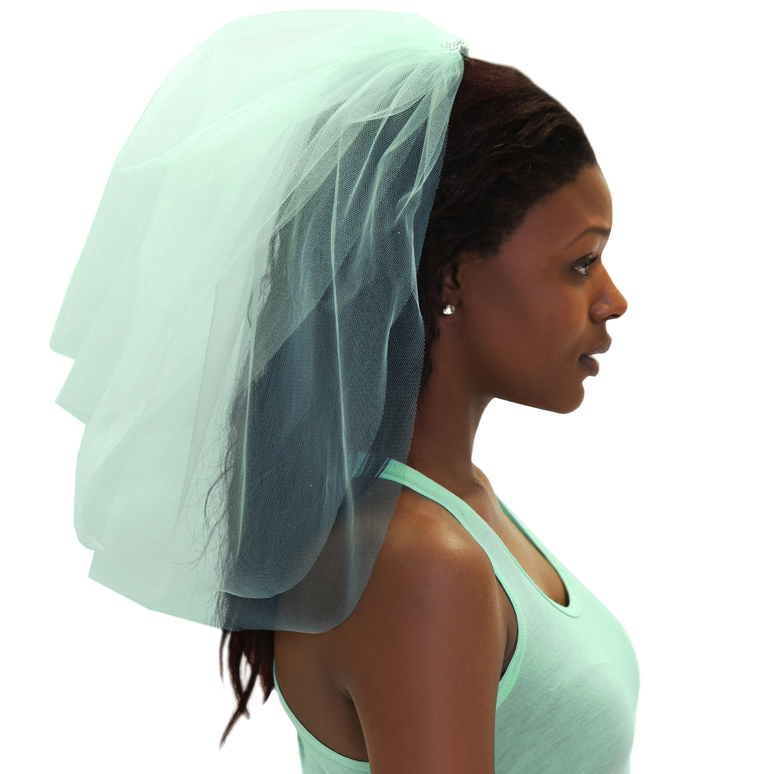 Bachelorette VEIL - Bachelorette Party Accessories for the Bride to Be Mint by RhinestoneSash (Image #1)