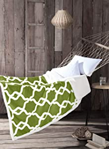 "Kensie Esy Sherpa Throw, Green Pea, 50"" x 60"", 50 X 60,"