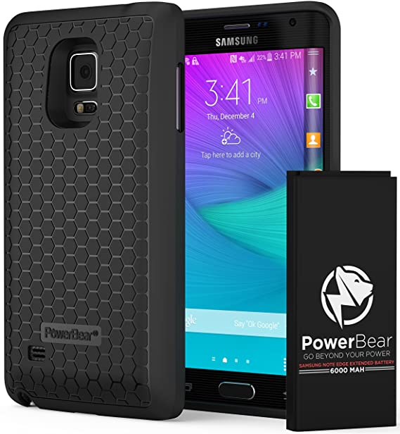 best value 78d3b 93ad5 PowerBear Samsung Galaxy Note Edge Extended Battery [6000mAh] & Back Cover  & Protective Case (Up to 2.5X Extra Battery Power) - Black [24 Month ...