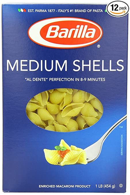 Barilla Pasta, Medium Shells, 16 Ounce (Pack of 12)
