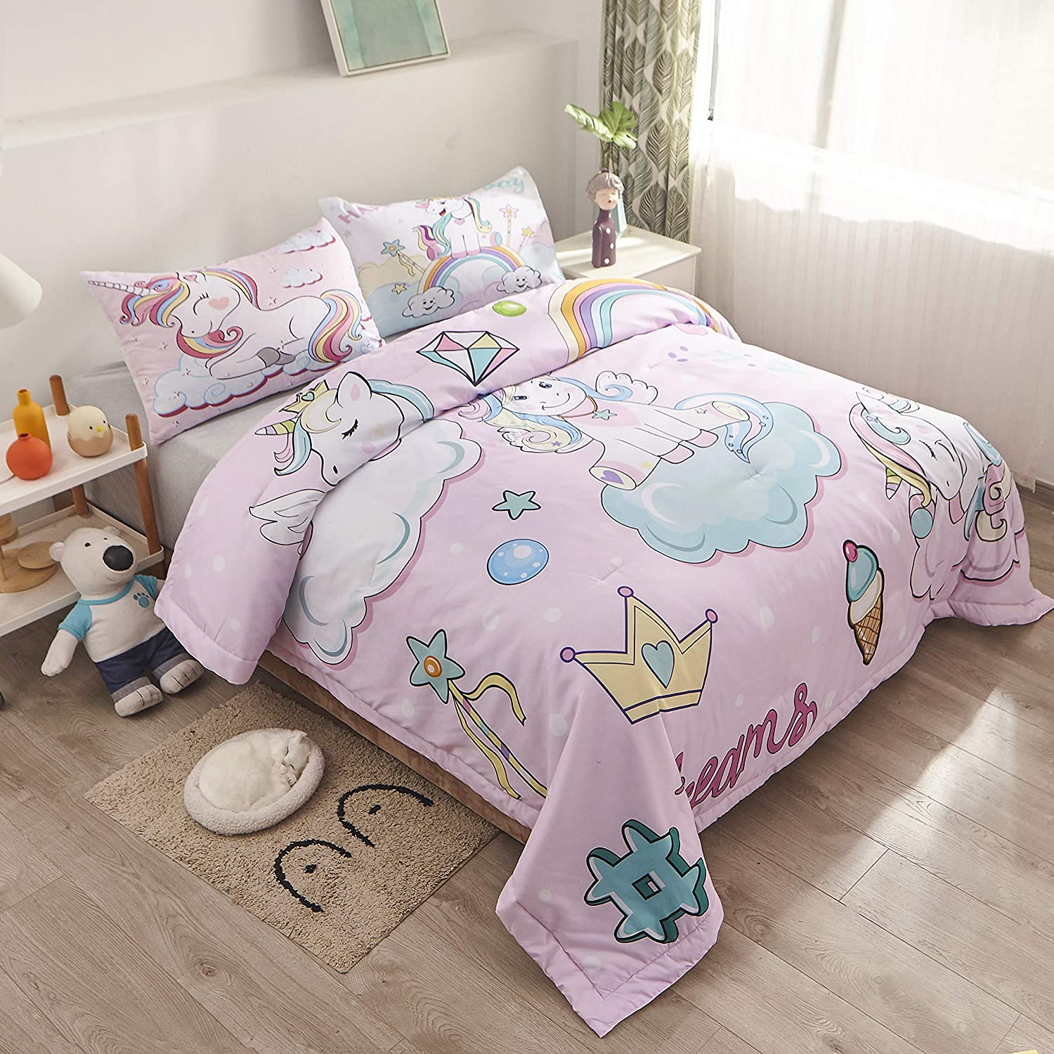 Comforter x 1 Pillowcase x 1 69x87 Inch Pink Blue Purple White Scales Sliver Line Quilt Sets Bedspread SweetDreaming Kids Mermaid Scale Twin Size Comforter Sets Girls Colorful Bedding Sets