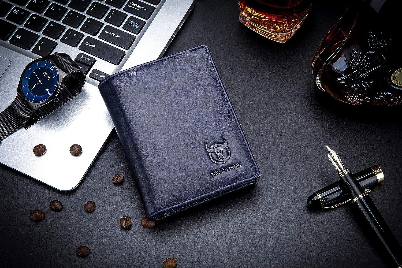 Huntvp Mens Wallet Genuine Leather RFID Blocking Bifold Large Capacity Slim Front Pocket ID Window Credit Card Holder with 15 Card Slots