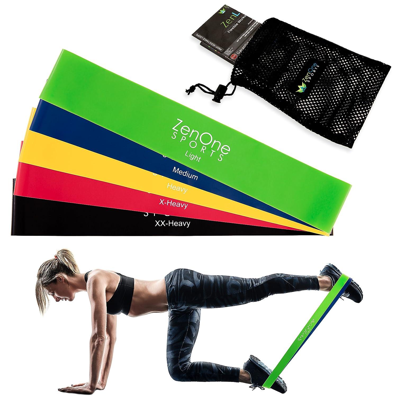 Zen Loops Fitness Juego de banda, 5 bandas de entrenamiento Incluye S de portatil, de ejercicio de entrenamiento Guide & Funda | Juego Premium Resistance ...