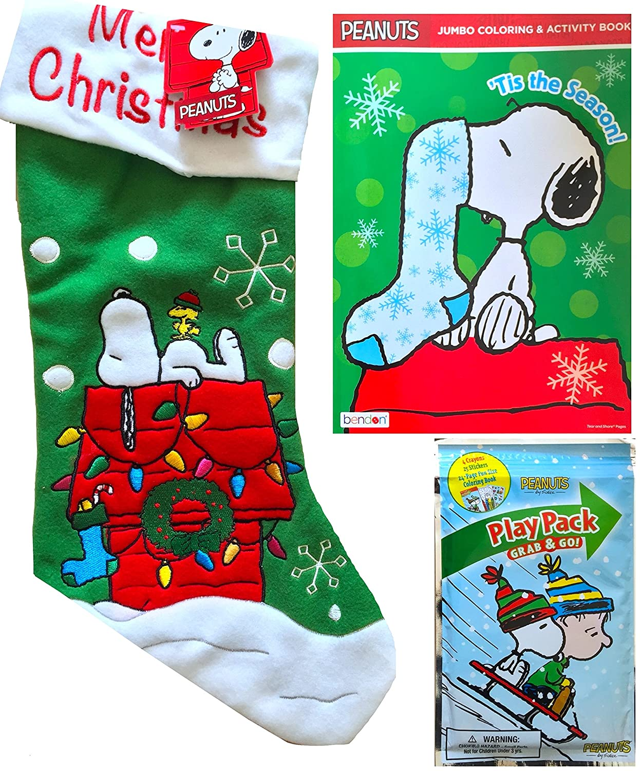 Amazon.com: Peanuts and Charlie Brown Christmas Stocking with ...