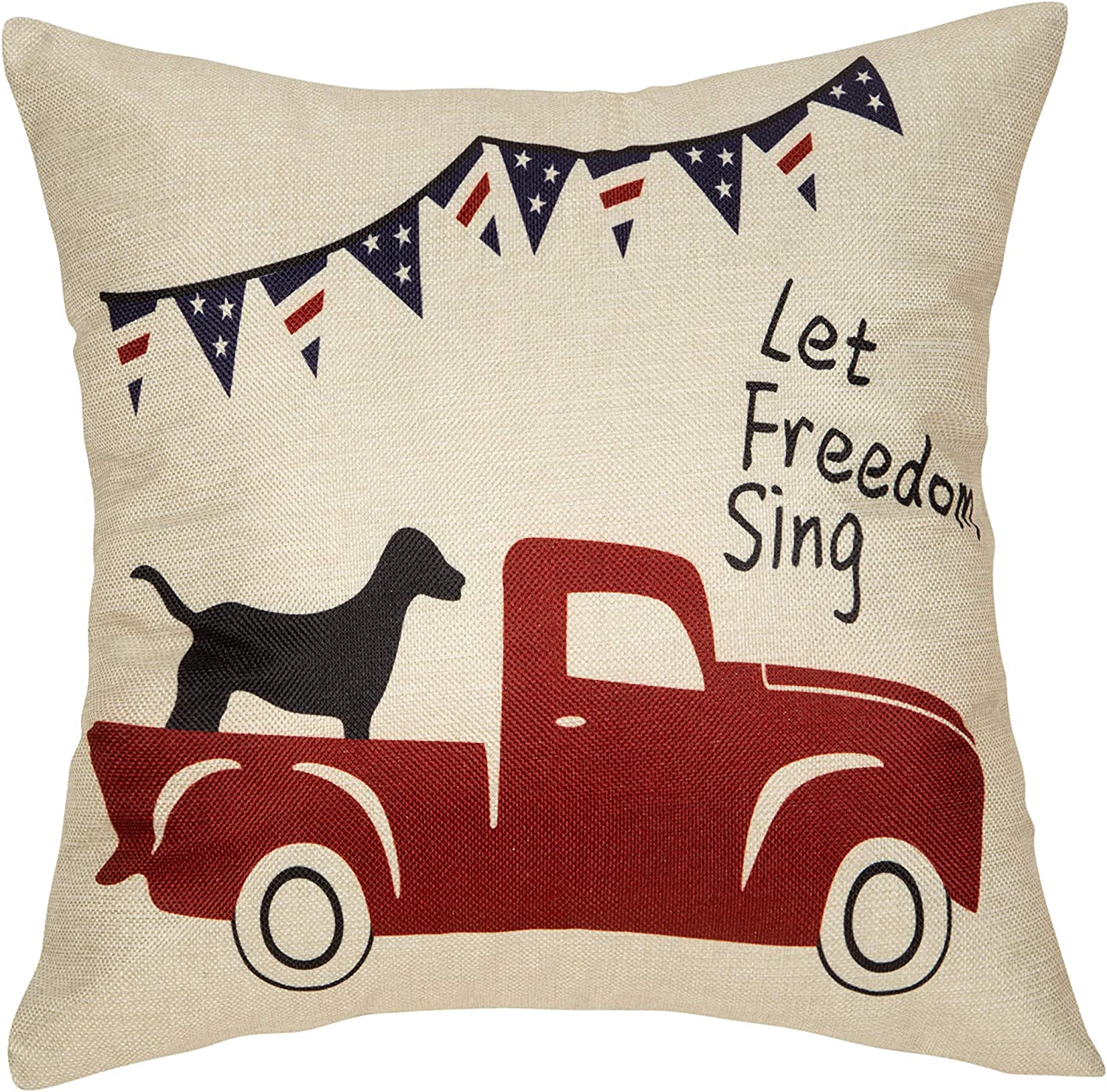 "Fjfz July 4th Farmhouse Decorative Throw Pillow Cover Let Freedom Sing Patriotic Quote Sign Decoration Vintage Red Truck with Dog Rustic Home Decor Cotton Linen Cushion Case for Sofa Couch, 18"" x 18"""