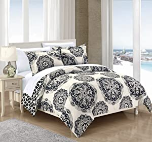 Chic Home DS3493-WT 2 Piece Ibiza Super Soft Microfiber Large Medallion Reversible with Geometric Printed Backing Twin Duvet Cover Set Black