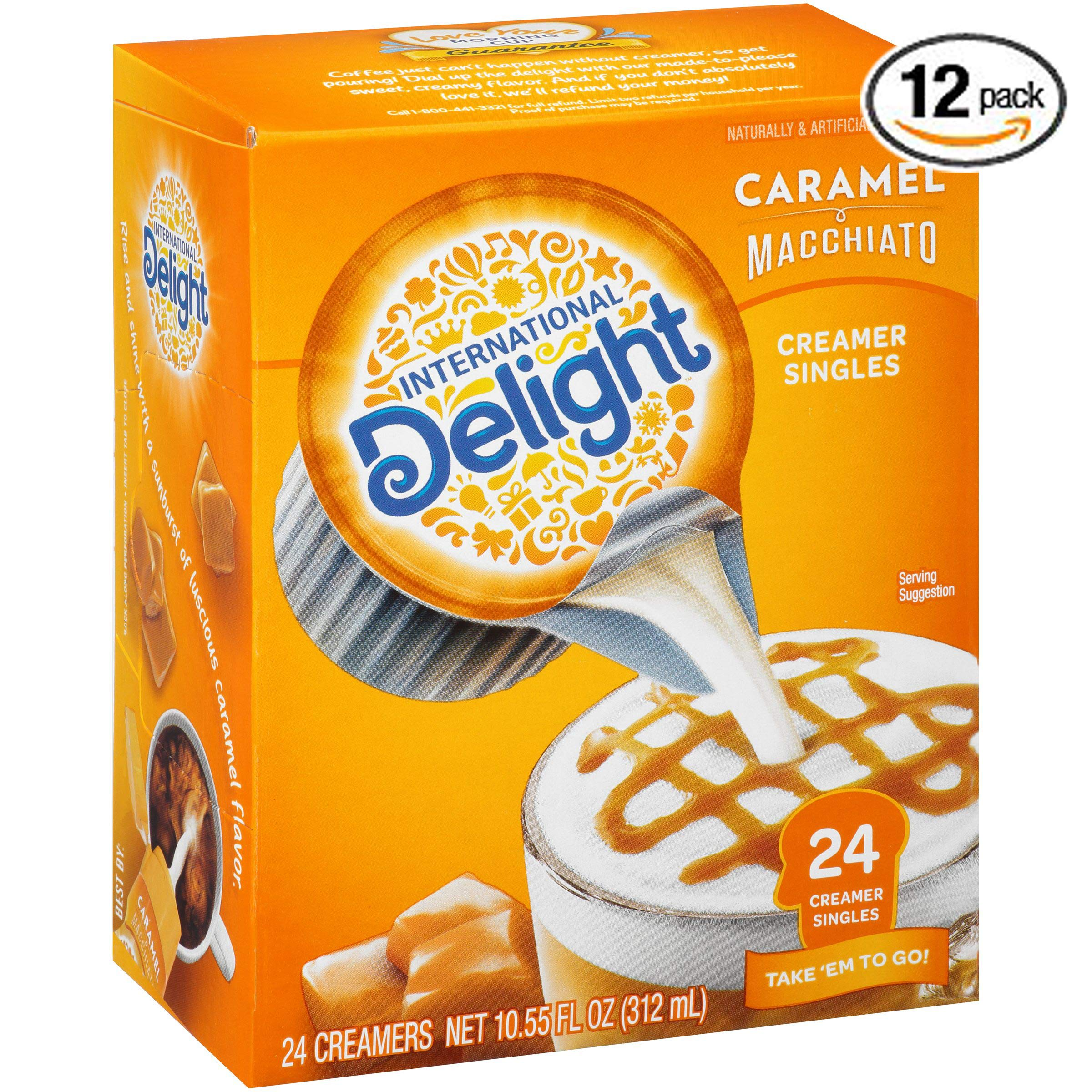 International Delight, Caramel Macchiato, Single-Serve Coffee Creamers, 24 Count (Pack of 6), Shelf Stable Non-Dairy Flavored Coffee Creamer, Great for Home Use, 24 Count (Pack of 12)